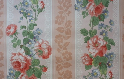 1940's Vintage Wallpaper Floral Rose Stripe - Peach Ivory and Blue