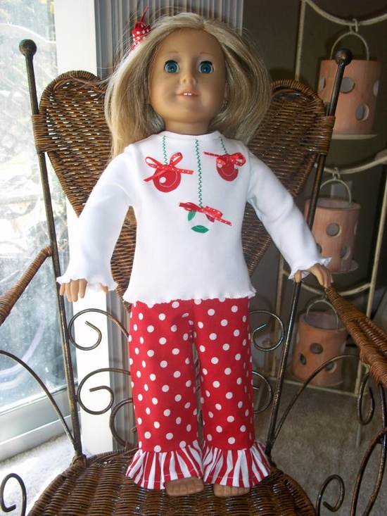 18 inch doll matching Christmas ornament by LittlePrettyBoutique, $12.00