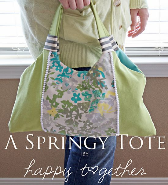 Great tutorial for a hobo bag upcycled from t-shirts. I especially like the section on making your own pattern. Thanks to Versus for the Springy Tote Tutorial by ohsohappytogether