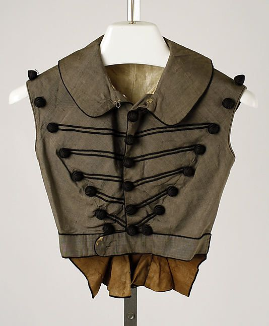 Spencer (sleeveless) 1818, American, Made of silk (Gothic Regency)