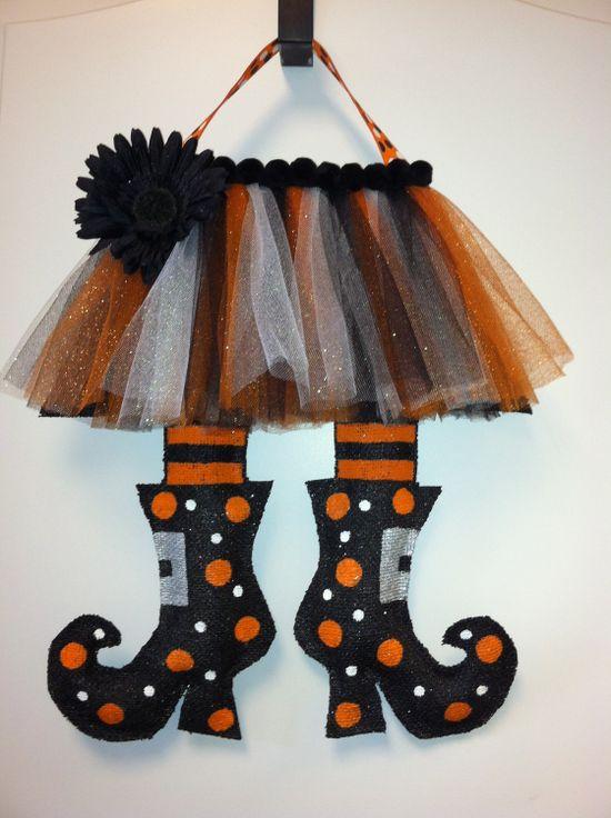 Witches Legs Burlap Door Hanger.