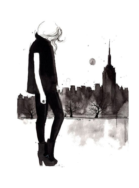 Print from original watercolor and fashion illustration, Doodles from my Sketchbook Series by Jessica Durrant, Empire State of Mind.
