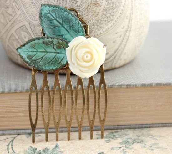 Floral Hair Comb Ivory Cream Rose Verdigris by apocketofposies