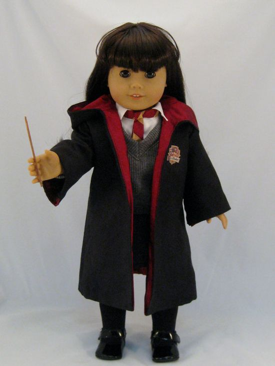 Wizard costume like Hermione Sized to fit American Girl or other 18 inch Dolls With wand $72