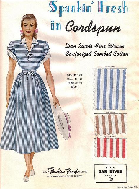 "Fashion Frocks ""Spankin' Fresh in Cordspun"" 1950 by CollectoratorOne, via Flickr"