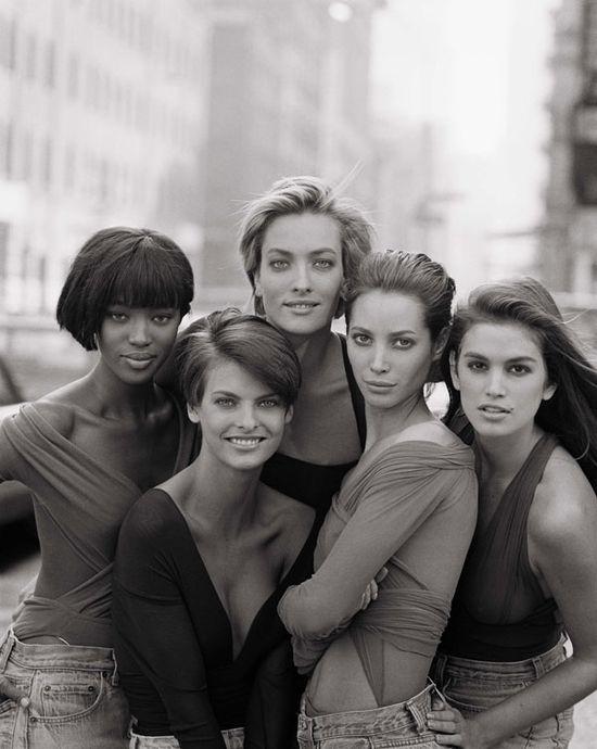 Naomi Campbell, Linda Evangelista, Tatjana Patitz, Christy Turlington and  Cindy Crawford by Peter Lindbergh for Vogue (UK) January 1980