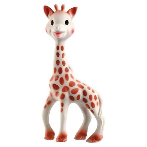 Sophie the Giraffe by Vulli: A longtime favorite of moms and babies, this teething, chewing toy stimulates all 5 senses. Check out the video which details how each giraffe is made. $17.99 #Sophie_the_Giraffe #Teether #Babies