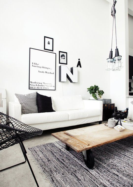 black & white + mix of modern, rustic & industrial