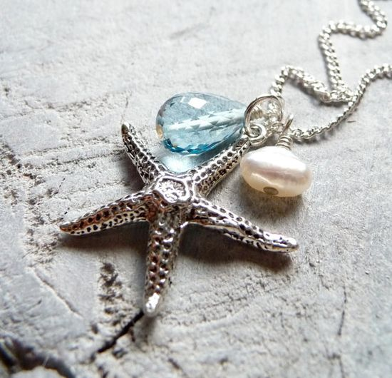Sterling Silver Starfish Charm Necklace with Faceted Blue Topaz & Fresh Water Pearl Pendant: karinagracejewelry       I own this and love it!