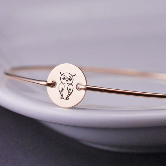 Owl, Owl Jewelry, Gold Owl Bracelet, Gold Bangle Bracelet Hand Stamped Jewelry