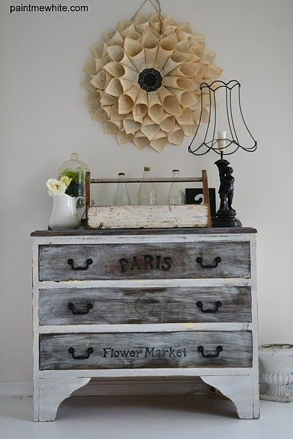oh, i like the flower on the wall!  it looks like it'd be easy to make with some scrapbook paper, a round piece of cardboard for the back and something in the middle!  #Distressed #Furniture furniture