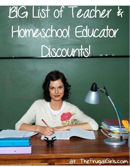 Teacher Discounts and Home School Educator Discounts…