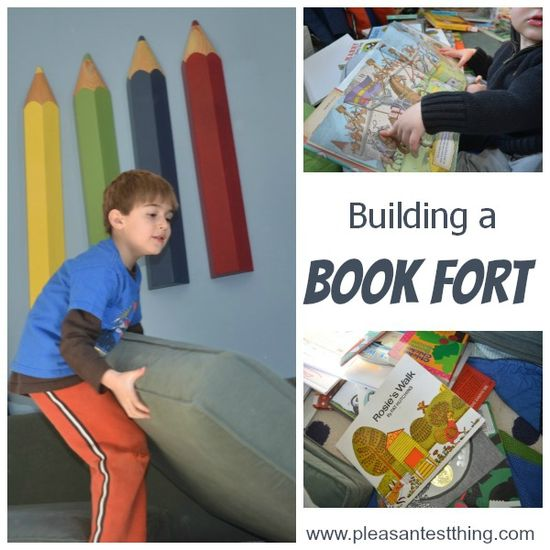 """Making your own """"book fort"""" - a fun way to be active and then calm down with your favorite books!"""
