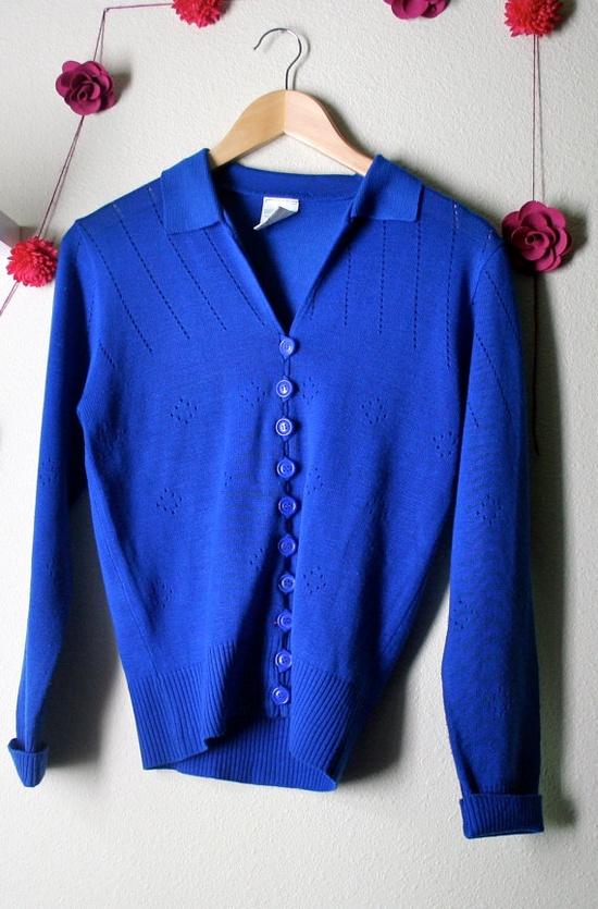 cobalt blue cardigan