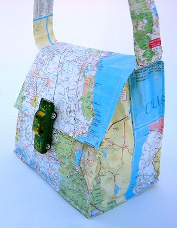 "Recycle maps and toy car into unique ""travel"" bag."