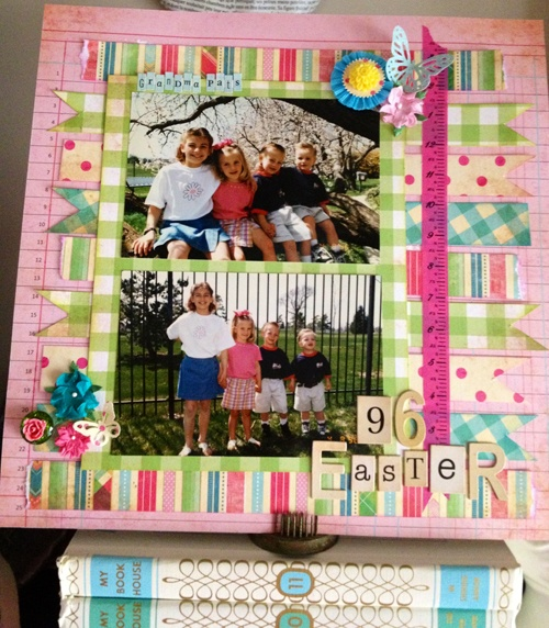 #scrapbooking #layout Bazzill's Vintage Marketplace collection makes a darling Easter layout. Print those photos!