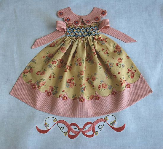 Fab pics of smocked doll dress quilt blocks