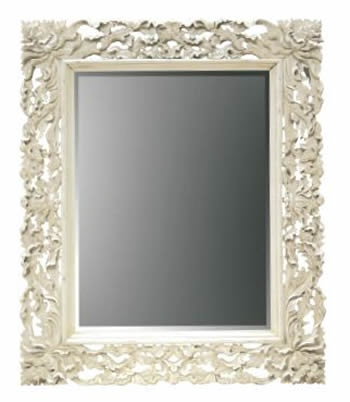 carved mirror in antique white