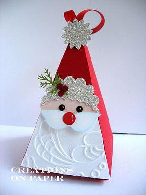Petal Cone Santa from creationsonpaper....
