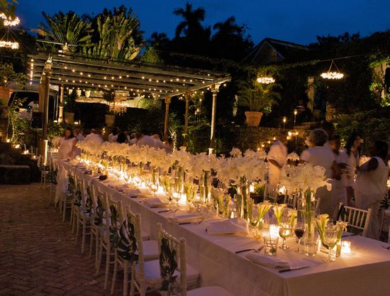 tropical white wedding candles