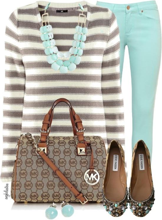 Grey & white l/s shirt, mint skinnies, mint & chocolate flats, mint statement necklace.