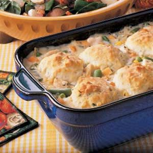 Chicken 'n' Biscuits Recipe. I give this a 5! Just made it for dinner tonight. Delish. I used a rotisserie chicken and added a can of cream of chicken soup. Hubs loved it too.