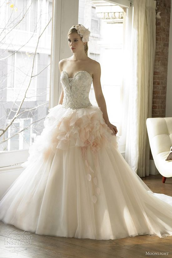 I like the top, but would want it in all white, no pink. -- light pink wedding dress moonlight fall 2012