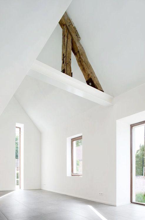 Exposed barn wood beams