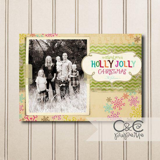 Printable Christmas Card with Multiple Photos-Holly Jolly Snowflake