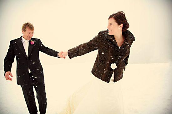 snowy wedding photo by Bebb Studios