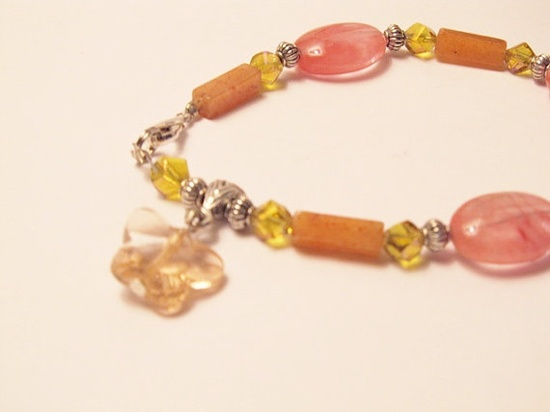 Colors of Spring Bracelet with Watermelon Tourmaline, Aventurine and Crystals by RomanticThoughts, $22.00, #RomanticThoughts.etsy.com