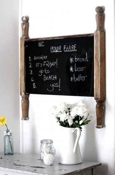 salvaged headboard turned chalkboard