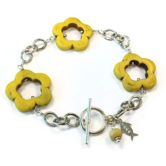 Yellow Bracelet Sterling Silver Jewelry by jewelrybycarmal on Etsy, $27.00