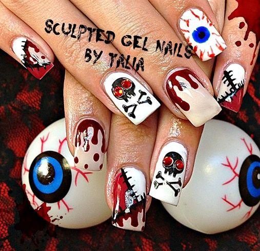Gory Halloween!  by gelnailzbytalia - Nail Art Gallery nailartgallery.na... by Nails Magazine www.nailsmag.com #nailart