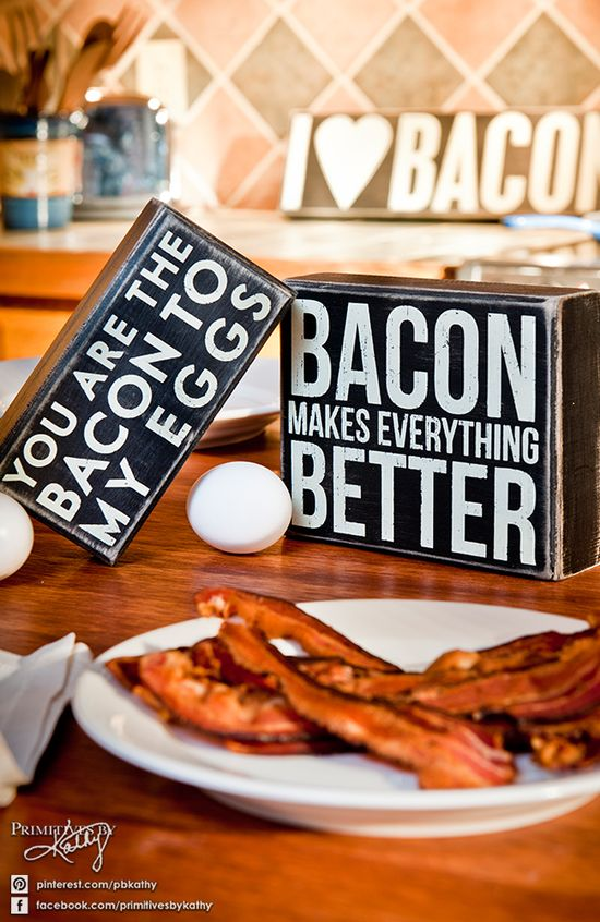 Bacon Makes Everything Better. Kitchen Decor Box Signs.
