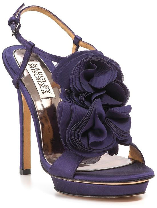 Badgley Mischka purple ruffled heels! Perfect for a wedding day or any day really!