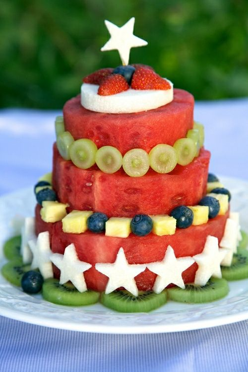 How to make a tiered watermelon cake with fresh fruit decorations. Click the link on the bottom of the post to check out all kinds of watermelon cakes. Great for any summer or outdoor party or a glutenfree diet. From Apron Strings.