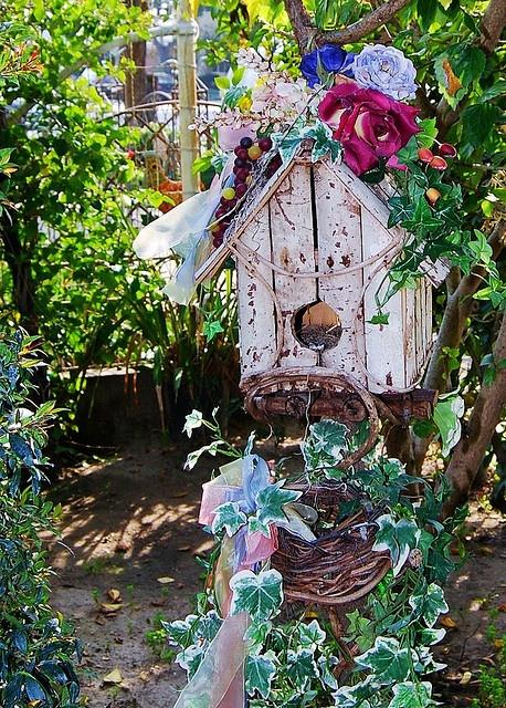 Decorated birdhouse