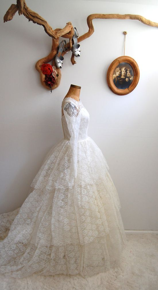 1950s lace wedding gown.