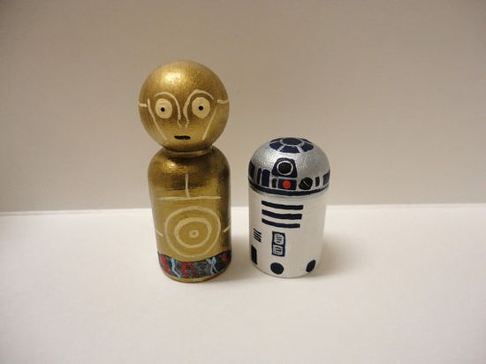 R2D2 and C3PO Star Wars Wooden Peg Dolls