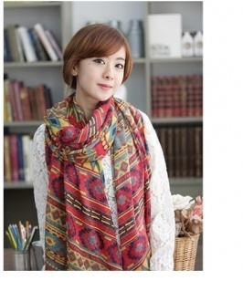 Colorful Tattoo Pattern Printing Beach Scarf Red