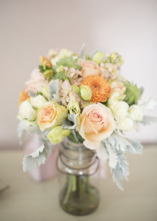 peach dahlia and cream spray roses bridal bouquet