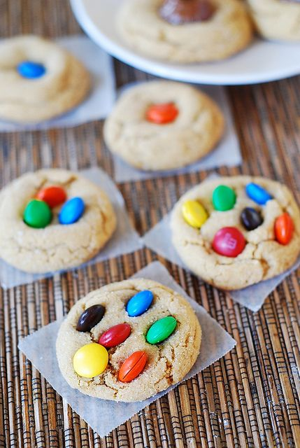 M and M peanut butter cookies, with an amazingly soft and chewy texture. The first day you make them, the cookies are almost like a brownie.