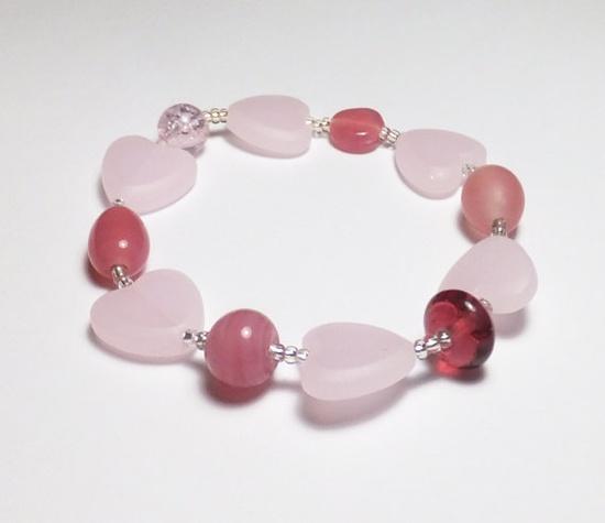 Sweet Pink and Heart Glass Sweetheart Valentine Beadwork by tzteja, $10.00  #bracelet, #beaded, #tamiza, #handmade, #ooak, #glass, #pink, #heart, #designsbytamiza