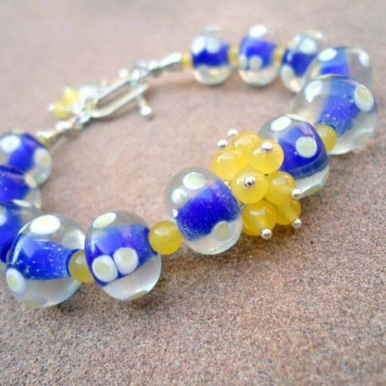 Blue Bracelet Silver Jewelry Color Block Unique by cdjali on Etsy, $18.00