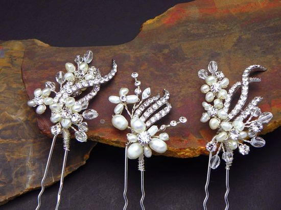 Wedding Hair Pins by One World Designs Bridal Jewelry