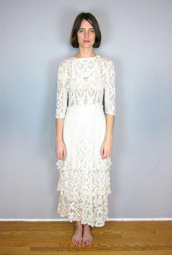 vintage 1900's lace wedding dress - omg