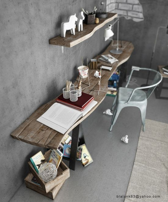 Rustic and Industrial style desk space, the hues and textures make a delightful combination ensuring many hours will be spent at this desk whether dreaming or working! #desk #home office #rustic table #reuse #interior design