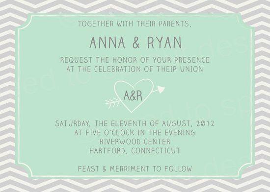 mint + gray invitation
