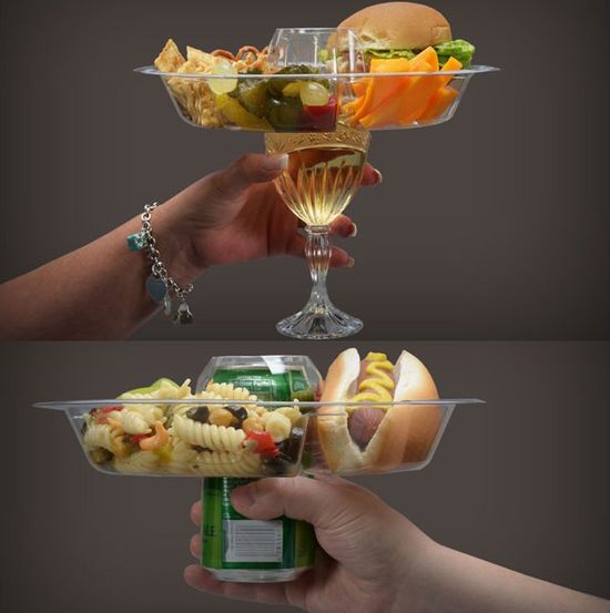 Perfect for football season! Go Plate - Designed for freehanded eating and drinking. Fits over most consumer bottles, cans and cups.